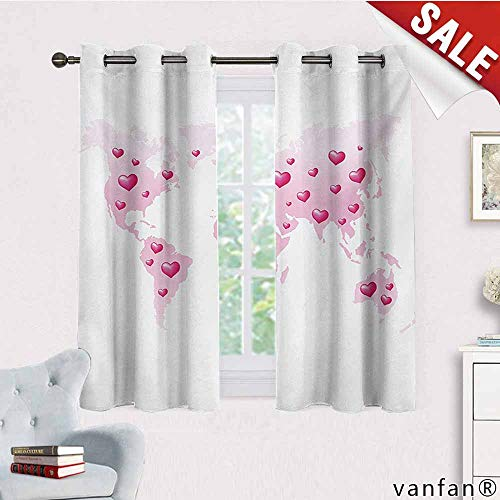 Blackout Curtain Panels Window Draperies,Princess,Global Peace Theme World Map Dotted with Hearts Love Planet Earth,Or Bedroom/Living Roombaby Pink White Fuchsia,W72 Xl72