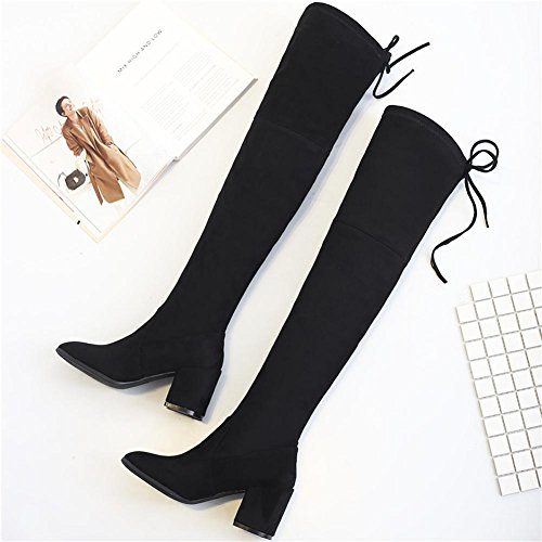Women High Heels Long Boots Over Knee Leather Thicker Plush Warm Lacing Shoes BLACK-35 xmv4xy