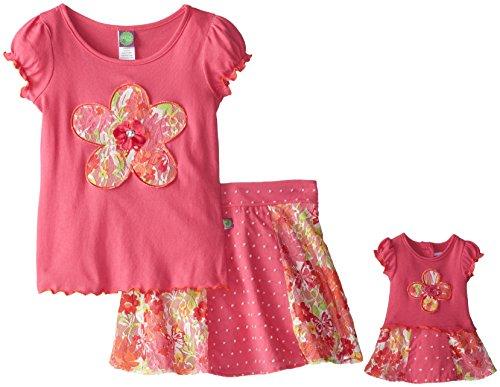 Dollie & Me Big Girls' Skirt Set with Flower Applique, Pink/Coral, 8