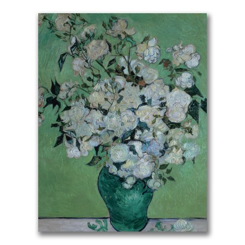 Vase of Roses by Vincent van Gogh, 18x24-Inch Canvas Wall Art