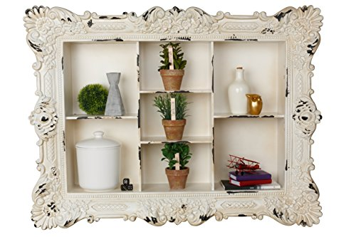 AdirHome Multiple Sectioned Wood Wall Shelf with Rustic Design (Wood Mirror Victorian)