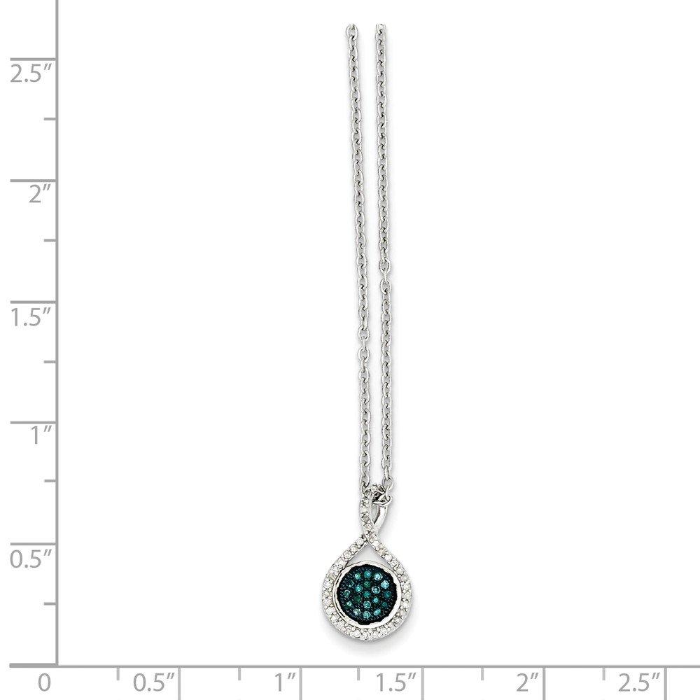 Brilliant Bijou Sterling Silver Blue and White Diamond Pendant 16 inches