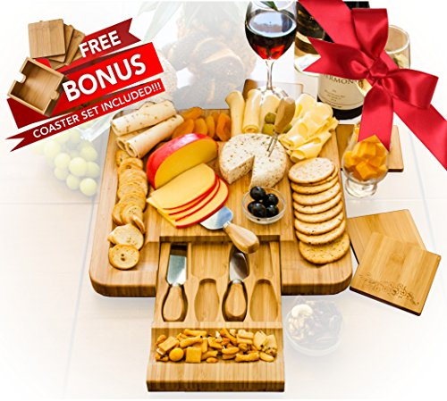 Bamboo Cheese Board Set With Cutlery in Slide Out Drawer PLUS FREE Gift - 4 Piece Wine Coaster Set Beautifully Engraved with Stylish Holder