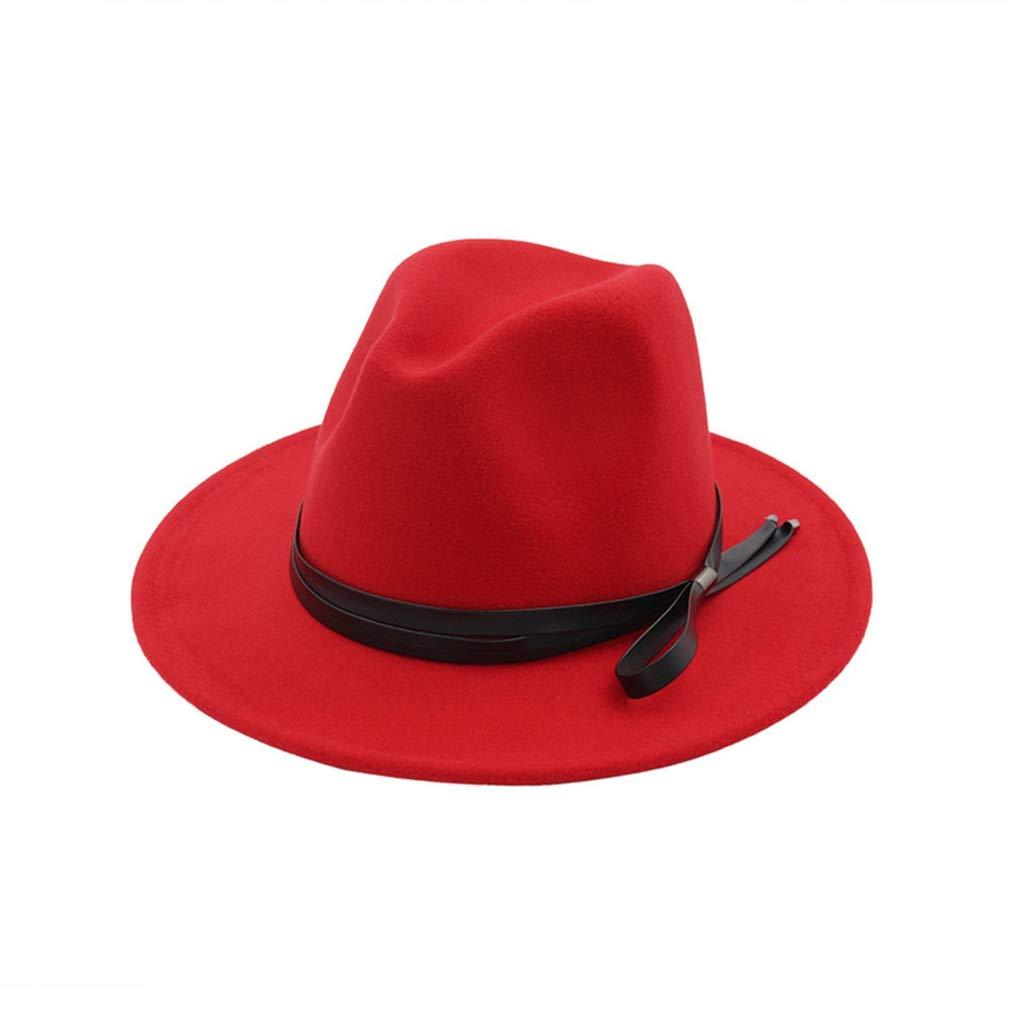 RXIN Women Men Fedora Hat with Leather Belt Flat Wide Brim Jazz Formal Party Hat