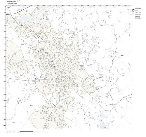 ZIP Code Wall Map of Anderson, SC ZIP Code Map Laminated -