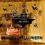 Rumas DIY Castle Bat Halloween Window Decoration Scary - 60 X 90 cm - Removable Art Wall Murals Peel & Stick - Happy Halloween Wall Decals Decor Kids Room Bathroom (Black)