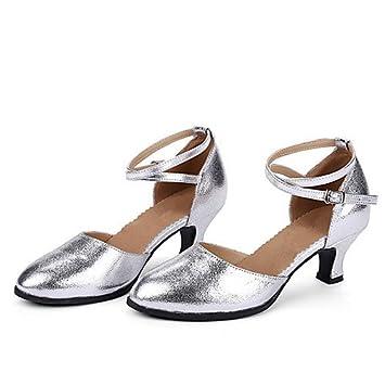 eda02030 T.T-Q Zapatos de Baile para Mujeres Tacón Cubano de Cuero Moderno Más  Colores Plateado: Amazon.es: Deportes y aire libre
