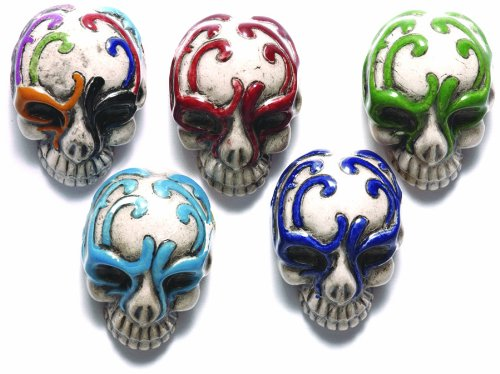 Shipwreck Beads 30 by 21mm Peruvian Hand Crafted Ceramic Skull Beads with Mask, Assorted Color, 3 per Pack
