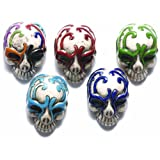 Shipwreck Beads 30 by 21mm Peruvian Hand Crafted Ceramic Skull Beads with Mask, Assorted Color, 3-Per-Pack