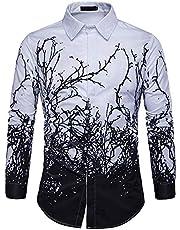 Shirt met lange mouwen voor heren Lente en herfst Persoonlijkheidstak Print Shirt met lange mouwen en grote maten
