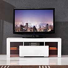 SUNCOO High Gloss LED Light Shelves TV Stand Unit Cabinet w/Drawer Console