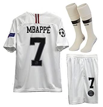 separation shoes ddab1 05f68 haobeibei Paris Saint Germain X Away #7 MBAPPE 2018-2019 Kids/Youths Soccer  Jersey & Shorts & Socks (6-13years Old)