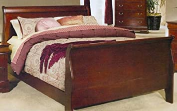 cherry finish queen size sleigh bed