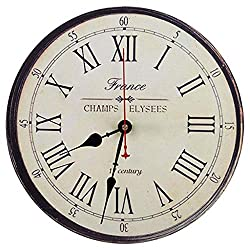 Ningyi683 16 Inch Retro France Style Wall Clock Roman Numeral Printed Battery Operated Round Frameless Silent Non-Ticking Digital Quiet Sweep Home Office Decoration
