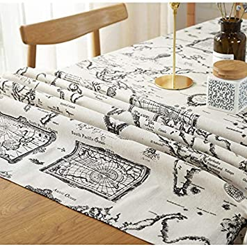 AOyEKXD Mantel Mapamundi Impreso Algodón Mantel De Lino Venta Al por Mayor Cubierta De Lino Toalla Mantel Universal 55X71In-140X180 Cm: Amazon.es: Hogar