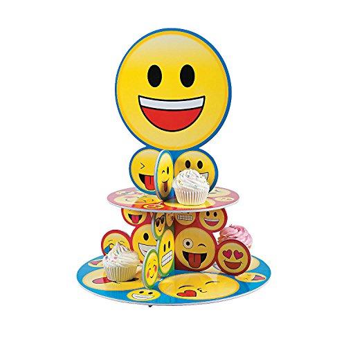 Fun Express Emoji Cupcake Stand Party - Cake Emoji Sunglasses