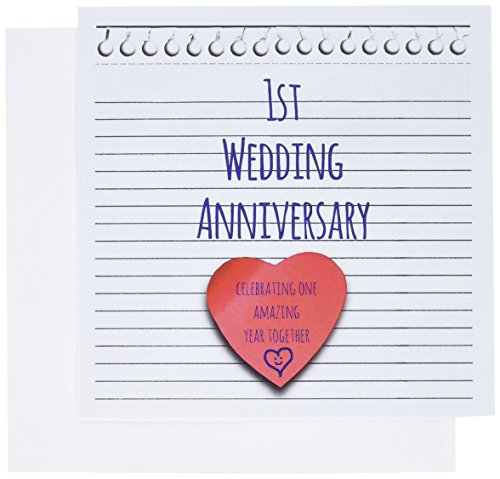 3dRose 1st Wedding Anniversary gift - Paper celebrating 1 year together - first anniversaries - Greeting Cards, 6 x 6 inches, set of 6 (gc_154428_1)