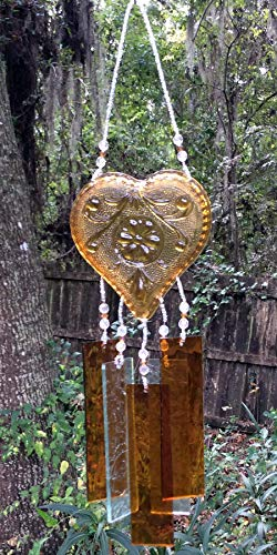 Amber Tiara Glass Heart Upcycled Into a Windchime with Stained Glass Chimes ()