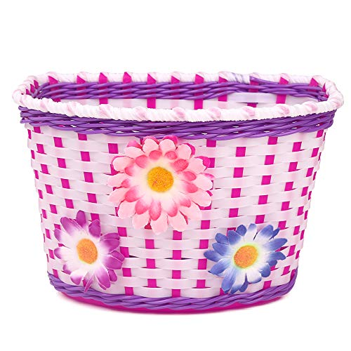 Farway Classic Kid's Girl's Bike Flower Basket Bicycle Front Decoration-Colorful ()