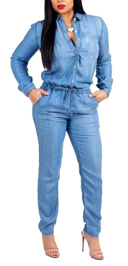 OTW Women Long Sleeve Pencil Casual Elastic Waist Drawstring Jeans Jumpsuit Romper