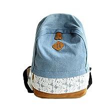 ABC® Fashion Lace Denim Women Canvas Backpack Schoolbag
