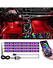 CTFIVING [2021 UPGRADED] Car Interior Lights WIth App Control 4pcs Million Color 72 LED Multicolor Music Car LED Strip Lights Car Atmosphere Lights , LED Strip for TV with Sound Active Function (USB PORT)