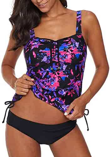 c0b718e210 Dearlove Women's Strappy Push up Printed Tankini Swimsuits with Brief S-XXXL