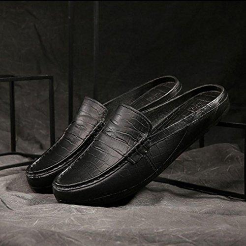 Elevin (tm) Uomini Estate Moda Allaperto Di Plastica Pigro Mezze Pantofole Sandali Mocassino Nero