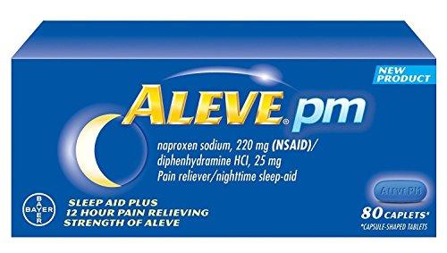 Aleve PM 160 Caplets total naproxène sodique 220 mg AINS / Diphenhydramine 25 mg (sommeil nocturne-Aid) Total 2 Bouteilles Chaque flacon contient 80 pilules