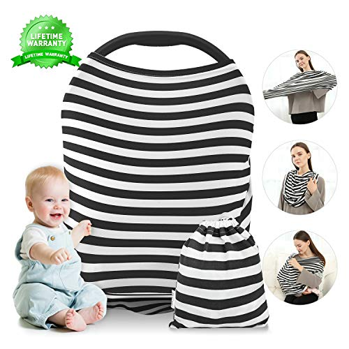 Nursing Cover, Breastfeeding Cover, Carseat Canopy, Car Seat Covers for Babies Stretchy Premium Soft Cover with Multi-Use for Stroller, Scarf, Shopping Cart, Baby Shower Gifts for Boys&Girls (Zebra)