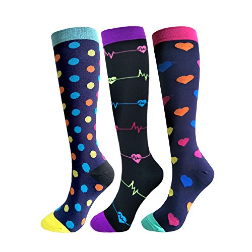 Compression Socks For Men & Women - 3 Pairs - Best for Running,Medical,Athletic Sports,Flight Travel, Pregnancy - 20-25mmHg (Multicoloured 5, L/XL)
