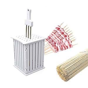 Barbacoa Caja Kebab Maker con pinchos de acero inoxidable,BAFFECT® 36PCS pincho Box Fabricante Parrilla Shish Kabap pincho máquina de cortar cortador de kebab barbacoa Kebab Box Maker para carne de pescado de la fruta Begetables pinchos shish Cubo