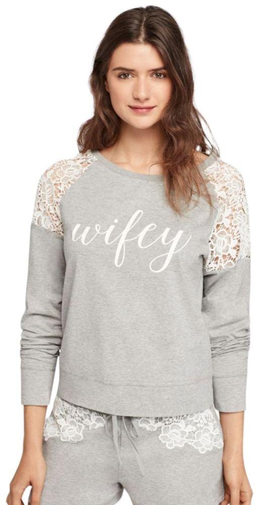 Wifey Lace Sweatshirt Style 6040KP, Grey, XL