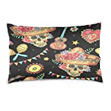 ALAZA Watercolor Hawaii Floral Sugar Skull in Sombrero Cotton Lint Pillow Case,Double-sided Printing Home Decor Pillowcase Size 16''x24'',for Bedroom Women Girl Boy