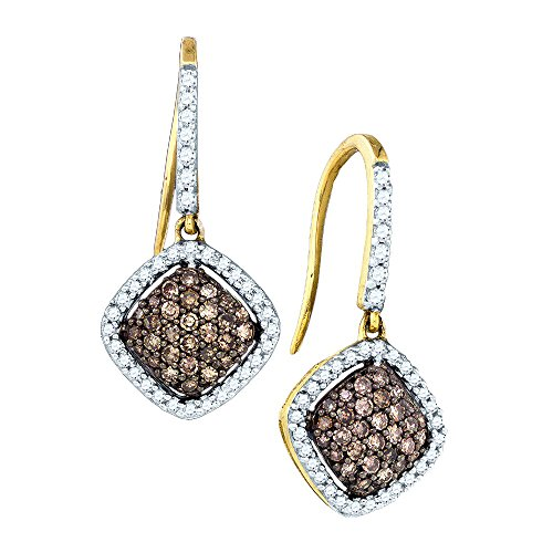 10kt Yellow Gold Womens Round Cognac-brown Colored Diamond Square Dangle Earrings 5/8 Cttw (I2-I3 clarity; Brown color)