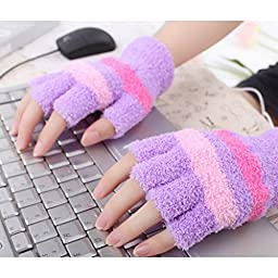USB Mittens Fingerless Heated Gloves Office Home Winter Hand Warmer - Purple