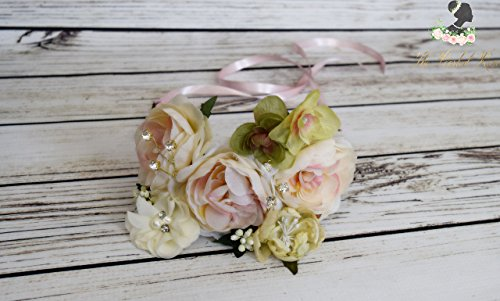 Handcrafted Silk Blush Cream and Green Rhinestone Flower Crown - Hydrangea and Rose Halo - Wedding Headpiece - Flower Girl Crown - Pink Rose