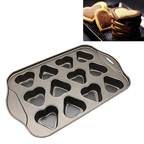 Cupcake Muffin Pan, Cake Mold, 12 Cup Moulded Cookie Pan Heart-shaped Cups Non-sticks Coating Muffin Pan Cake Pan Baking Mold Cake Fondant Cookie Biscuit (33x20.5x3 - Pan Heart Non Stick Muffin