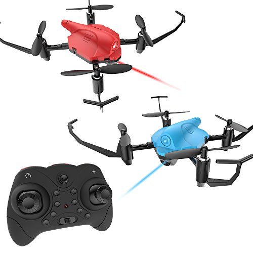 - Holy Stone HS177 RC Battle Drones with Infrared Emission RTF Quadcopter with 2.4GHz 4 Channel 6-Axis Gyro and Altitude Hold Function, Headless Mode and Emergency Stop, Color Red and Blue, Quantity 2