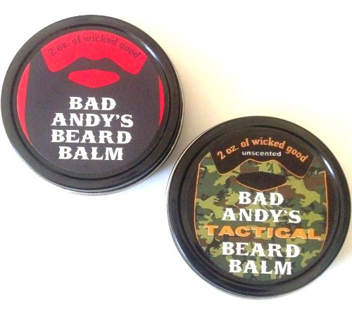 Bad Andy's Beard Balm Combo Pack - Original and TACTICAL - both all natural beard balms to soften, condition and help control facial hair. Original scented and Tactical unscented. ()