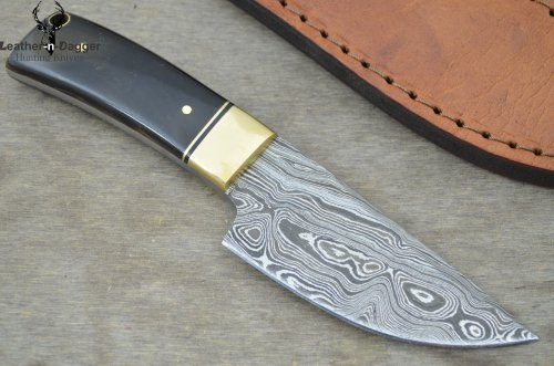 Cheap Huge Sale By Leather-n-dagger | Professional High Quality Custom Handmade Damascus Steel Skinner Hunting Knife (100% Satisfaction Guaranteed) Great Gift Ld158