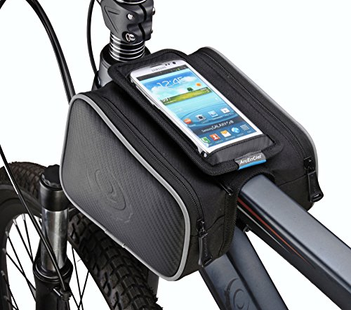 ArcEnCiel Bicycle Frame Pannier Bag and Front Tube Cell Phone Bag with Mobile Phone Pouch 5.5 Inch Mobile iPhone 6 ,6 Plus (Cycling Bag)