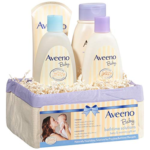 Aveeno Baby Daily Bathtime Solutions Gift Set to Nourish Skin for Baby and Mom, 4 items 7