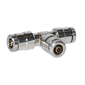 Tee 1//4 Tube OD 1//4 Tube OD Brennan Industries Inc. Brennan PCDT2603-04-04-04-B Nickel-Plated Brass Push-to-Connect Tube Fitting