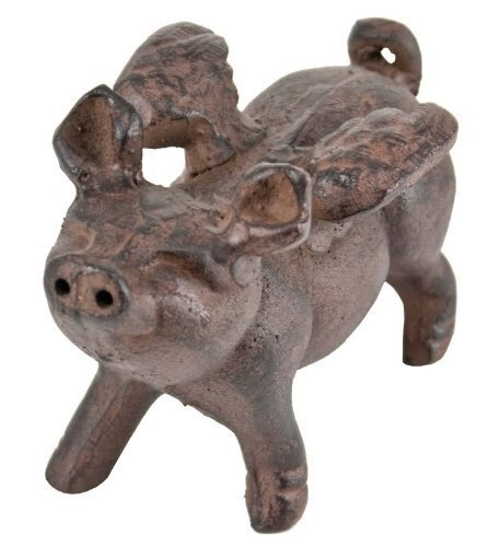 Whimsical Cast Iron Flying Pig Statue (Baker Statue)