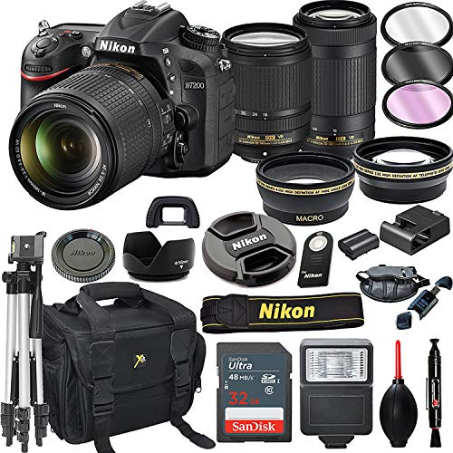 Nikon D7200 DSLR Camera with 18-140mm VR and 70-300mm VR Lenses + 32GB Card, Tripod, Flash, and More (21pc Bundle)