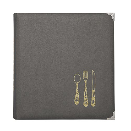 C.R. Gibson Gray  Leatherette Lined Recipe Notebook, 11'' x 12''