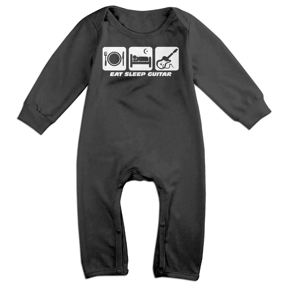 UGFGF-S3 Eat Sleep Guitar Long Sleeve Infant Baby Unisex Baby Bodysuit for 6-24 Months Bodysuit