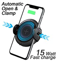 Wireless Car Charger Phone Vent Mount Holder Automatic Open Clamp with Infrared Motion Sensor for iPhone Xs Max X XR Samsung S9/S8/S7/S6+ (15Watt) Qi Fast Charging 2019 New 15W