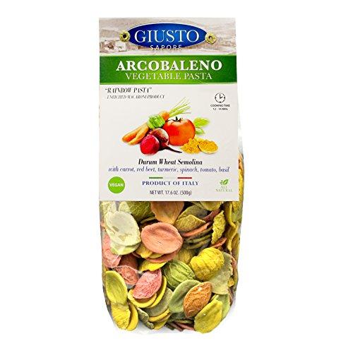 Giusto Sapore Italian Arcobaleno Vegan Vegetable Rainbow Pasta w/ Carrot, Red Beet, Turmeric, Spinach, Tomato, & Basil 500g - Premium Gourmet Durum Wheat Semolina - Made in Italy and Family Owned